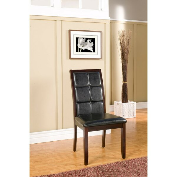 Friedler Suave Genuine Leather Upholstered Dining Chair (Set of 2) by Latitude Run