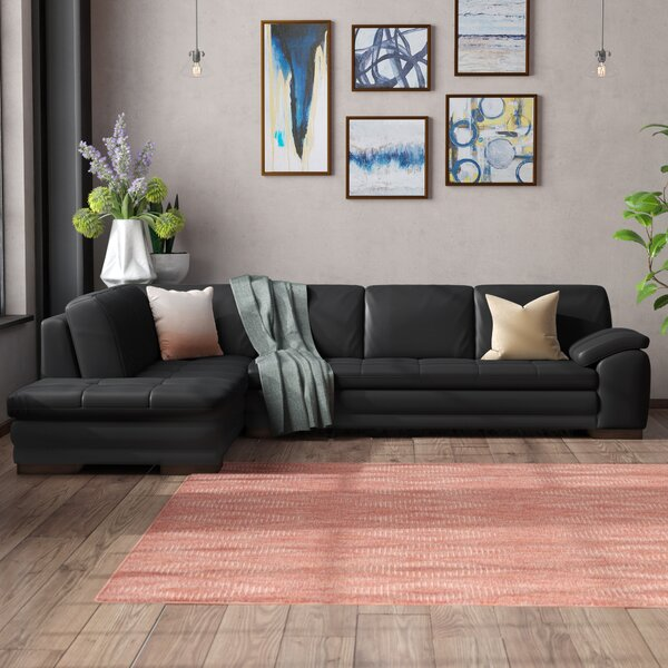Casselman Leather Sectional by Wade Logan