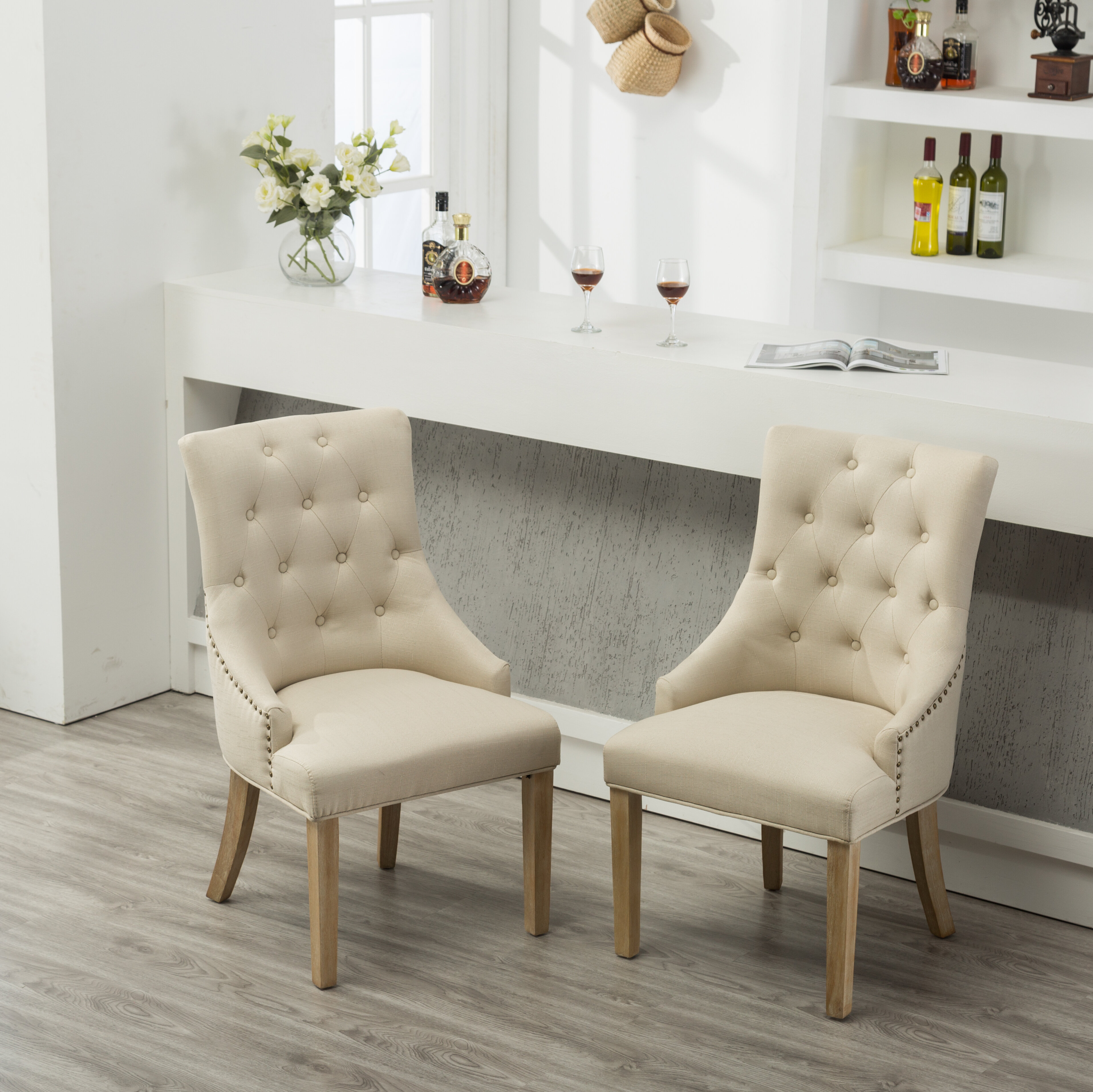 Miles City Button Tufted Wingback Hostess Upholstered Dining Chair