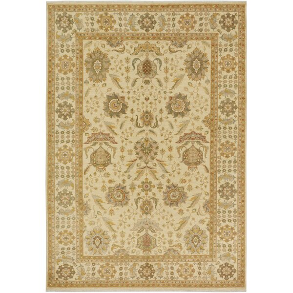 One-of-a-Kind Bodrum Hand-Knotted Wool Ivory/Green Area Rug by Canora Grey