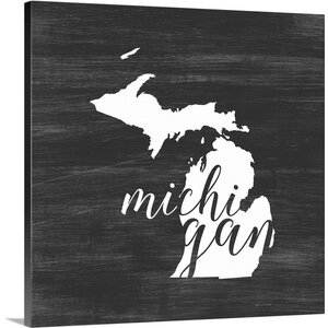 'Home State Typography Michigan' by Inner Circle Graphic Art Print on Wrapped Canvas by Great Big Canvas