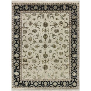One-of-a-Kind Brogan Genuine Oriental Hand-Knotted 7'9 x 10'2 Wool Black/Beige Area Rug Isabelline