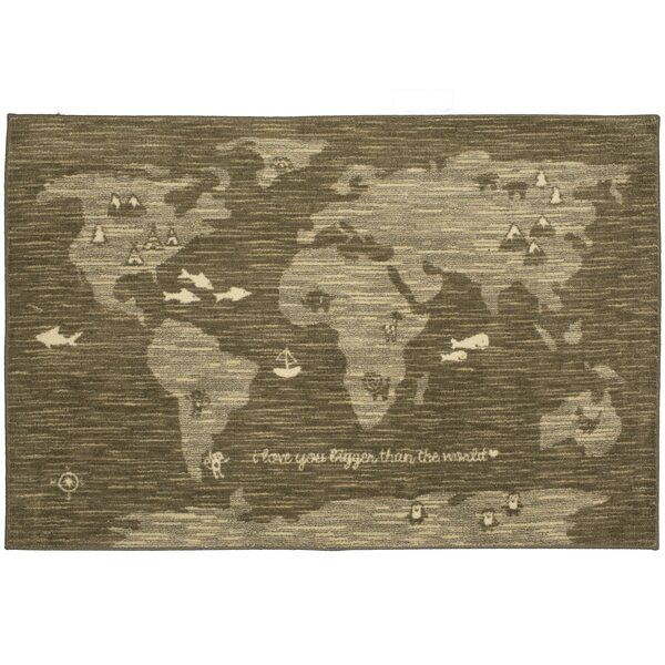 Johnston Bigger Love Gray/Brown Area Rug by Harriet Bee