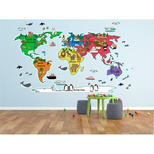 Map Of The World Decal.World Map Decal Kids Wayfair