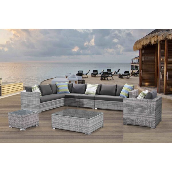 Grijalva 7 Piece Rattan Sectional Seating Group with Cushions by Brayden Studio