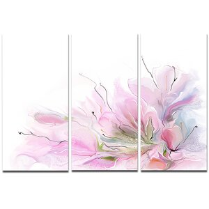 Lovely Pink Flowers - 3 Piece Painting Print on Wrapped Canvas Set by Design Art