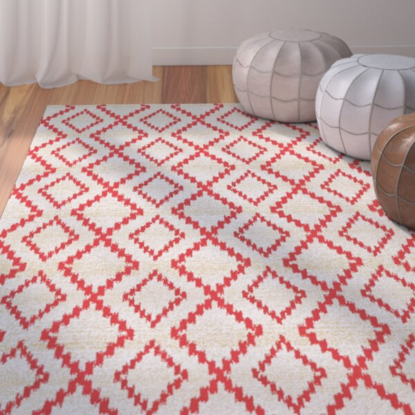 Yenene Apricot White & Red Area Rug by Bungalow Rose