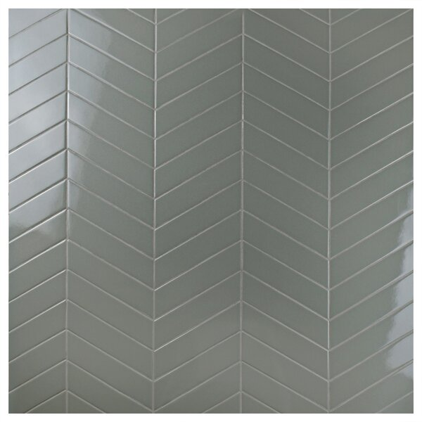Retro Soho Chevron 1.75 x 7 Porcelain Field Tile in Gray by EliteTile