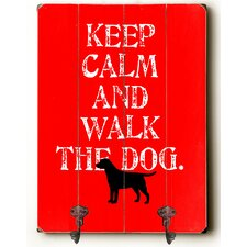 Keep Calm and Walk the Dog Leash Planked Wood Wall Mounted Coat Rack by Andover Mills
