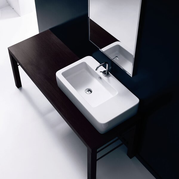 Ego Ceramic 30 Wall Mount Bathroom Sink with Overflow by WS Bath Collections