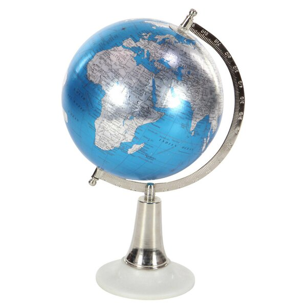 Blue/Silver Metal Globe by Bloomsbury Market