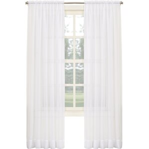 sheer voile solid sheer rod pocket single curtain panel