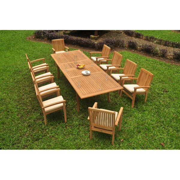Nautilus 11 Piece Teak Dining Set by Rosecliff Heights