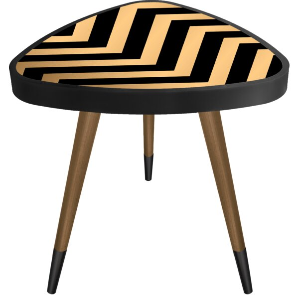 Mcandrews -inchStriped-inch Print Triangle Wooden End Table by Wrought Studio Wrought Studio