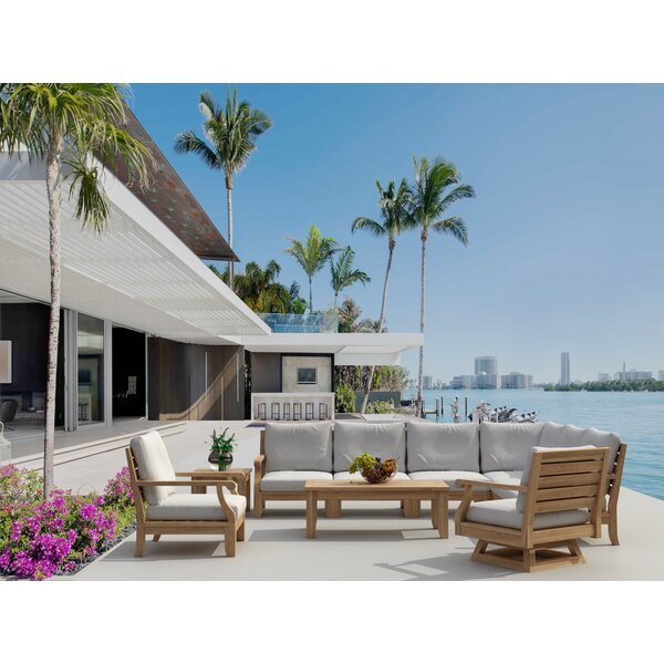 Gatsby 10 Piece Teak Sectional Seating Group with Sunbrella Cushions by Rosecliff Heights