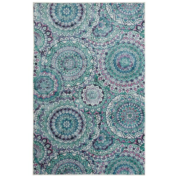 Amblewood Medallion Seafoam Green Area Rug by Bungalow Rose