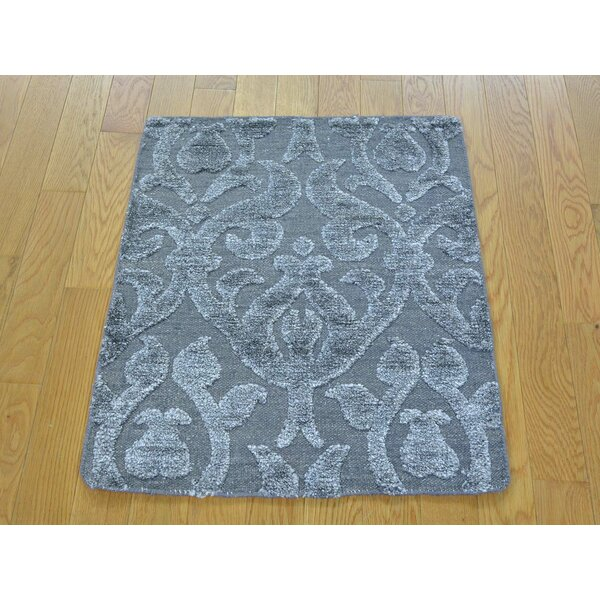 One-of-a-Kind Belue Hand-Knotted Grey Wool/Silk Area Rug by Isabelline