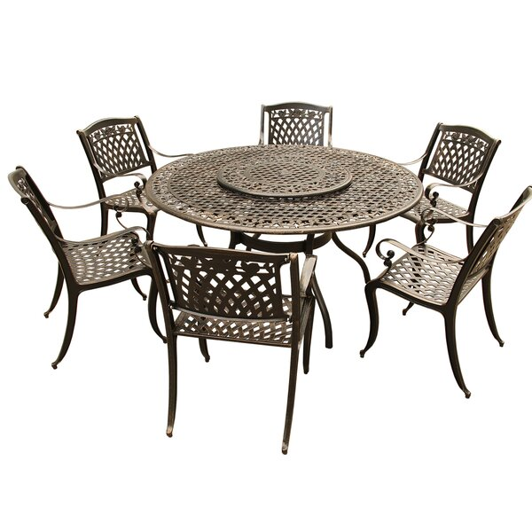 Cason Rose Ornate Mesh Lattice 7 Piece Dining Set by Fleur De Lis Living