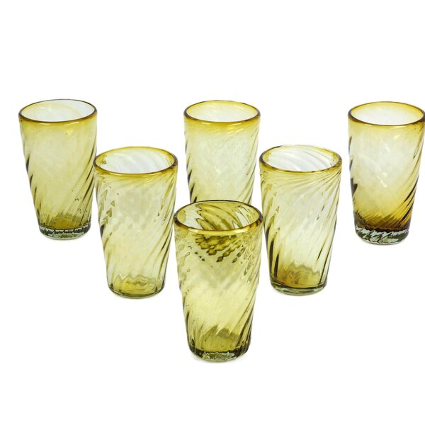 Amber Contours 18 oz. Glass (Set of 6) by Novica