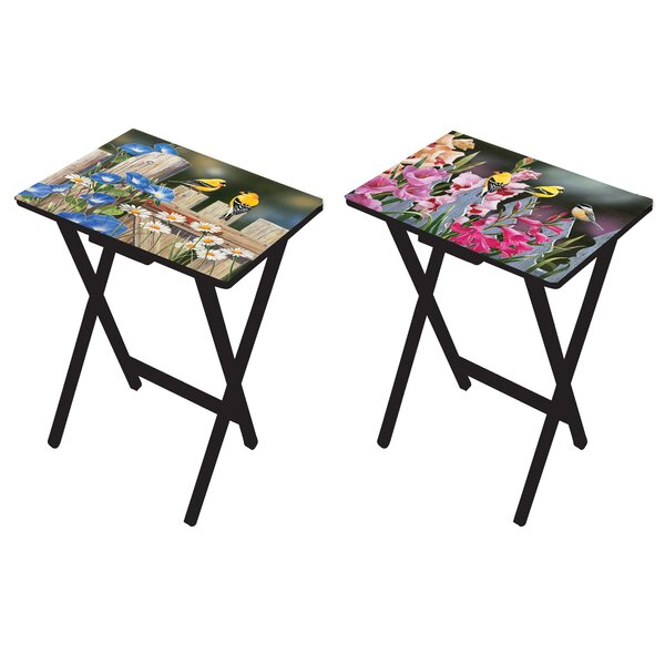 Mazie Birds and Flowers Tray Table Set (Set of 2) by Winston Porter