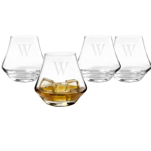 Personalized Contemporary Whiskey Glasses (Set of 4) by Cathys Concepts
