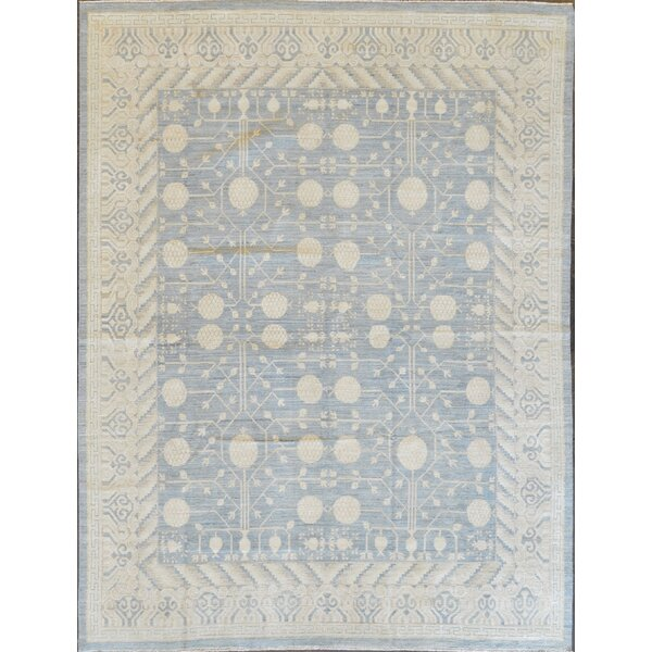 One-of-a-Kind Superb Quality Handwoven Wool Blue Indoor Area Rug by Mansour