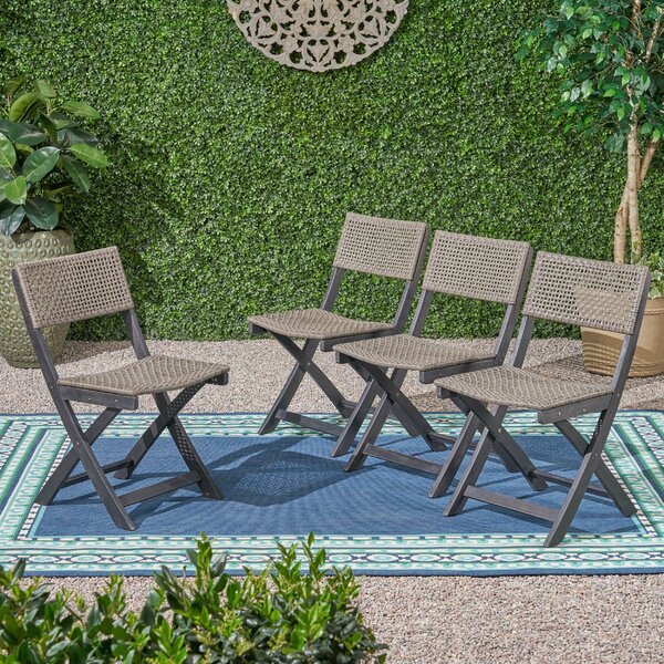 Mcclaskey Outdoor Foldable Bistro Patio Dining Chair (Set Of 4) By Bungalow Rose