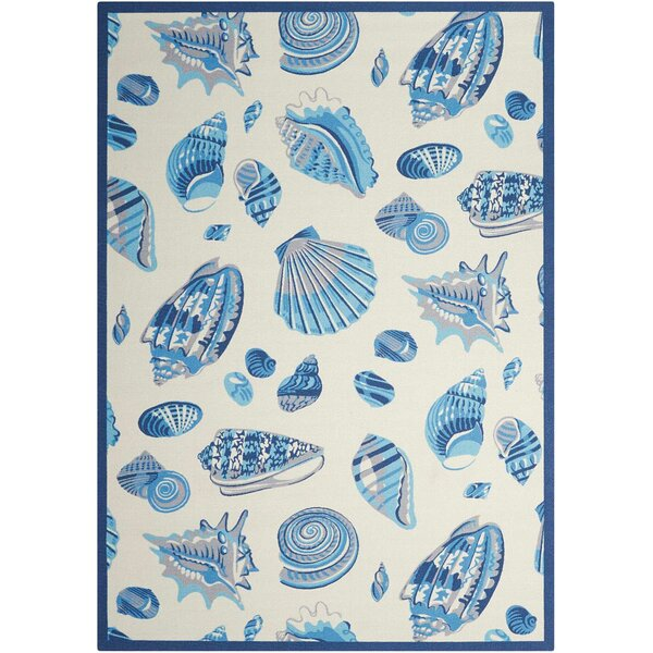 Sun and Shade Ivory/Blue Indoor / Outdoor Area Rug