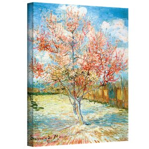 Pink Peach Tree Painting Print on Canvas by Charlton Home