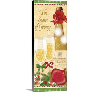 'Holiday Cheers II' by Veronique Charron Vintage Advertisement on Wrapped Canvas