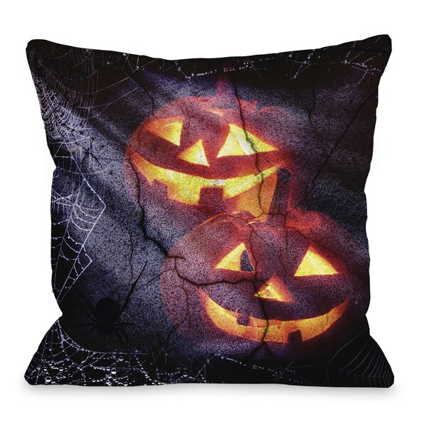 Pumpkins and Spiderwebs Throw Pillow by One Bella Casa