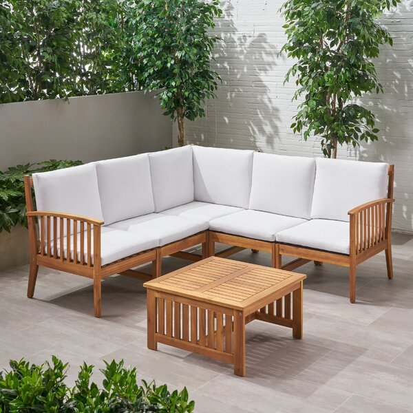 Starrett Outdoor 5 Piece Sectional Seating Group with Cushions by Millwood Pines