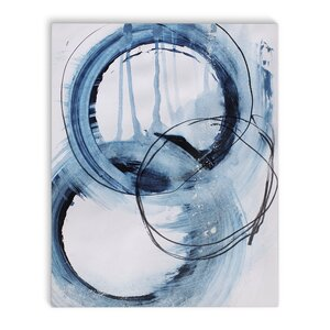 'Blue Abstract' Rectangle Painting Print on Canvas in Blue/Ivory by Latitude Run