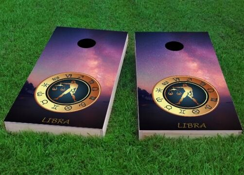 Zodiac Stars Libra Themed Cornhole Game (Set of 2) by Custom Cornhole Boards
