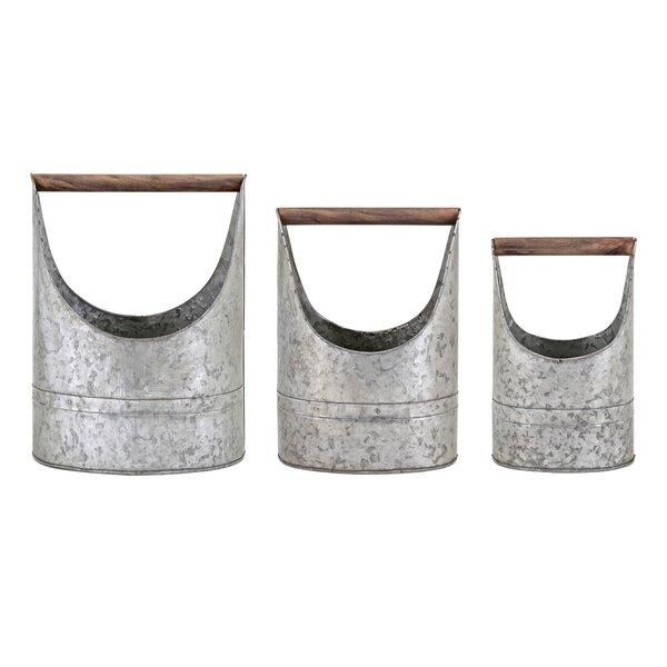 Alaina Metal 3-Piece Pot Planter Set by Gracie Oaks