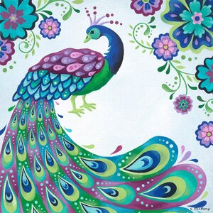 Floral Peacock Canvas Art by Oopsy Daisy