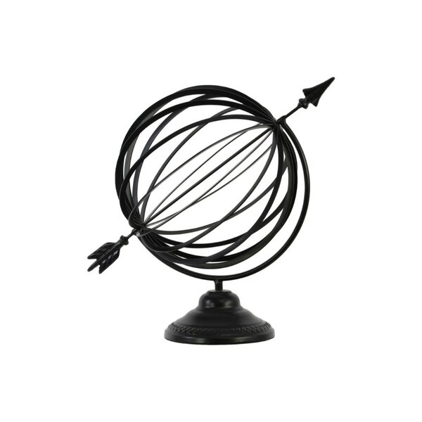 Lefebvre Metal Orb Dyson Sphere with Directional Arrow on Round Stand by Red Barrel Studio