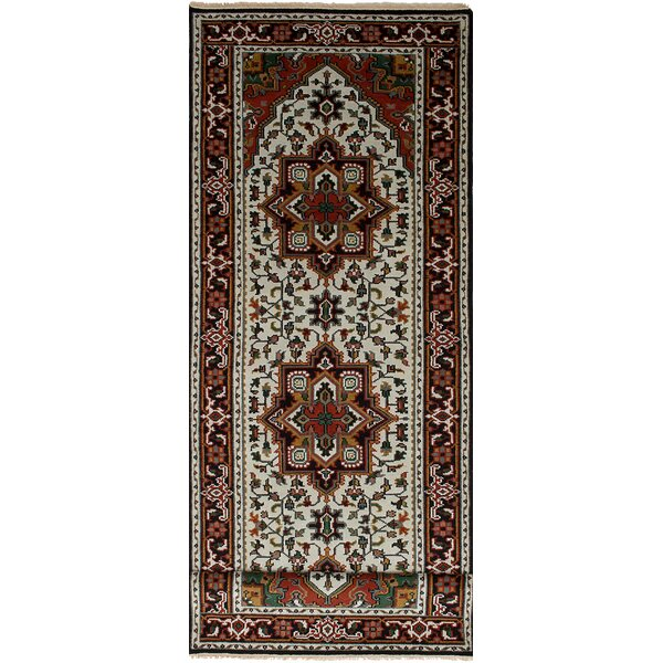 One-of-a-Kind Grullon Hand-Knotted Wool Red/Cream Area Rug by Isabelline