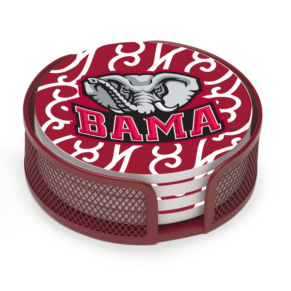 5 Piece University of Alabama Swirls Collegiate Coaster Gift Set by Thirstystone