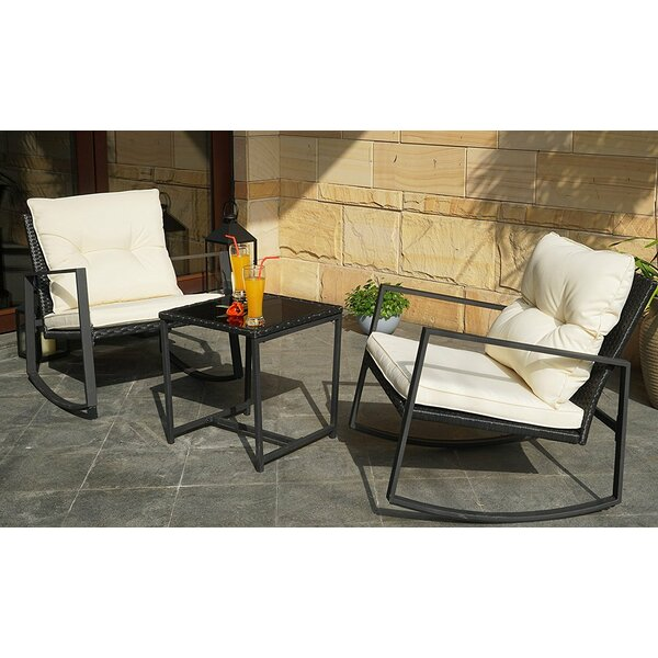 Kemmer Outdoor 3 Piece Rocking Wicker Seating Group by Charlton Home