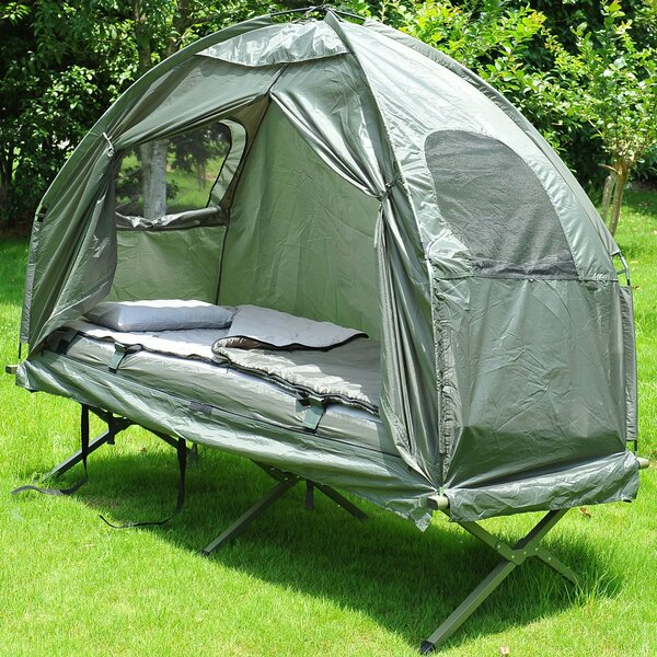 Deluxe 4-in-1 Compact Folding Dome Shelter Tent with Sleeping Bag Air Mattress Pillow by Outsunny