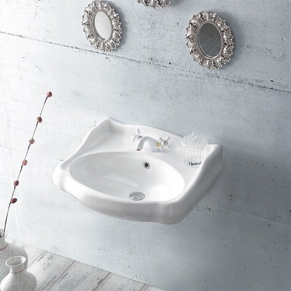 1837 Ceramic 24 Wall Mount Bathroom Sink with Overflow by CeraStyle by Nameeks