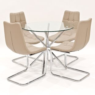 Derby Circular Glass Dining Set With 4 Chairs