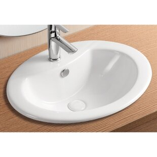 Compare prices Ceramica II Ceramic Oval Drop-In Bathroom Sink with Overflow By Caracalla