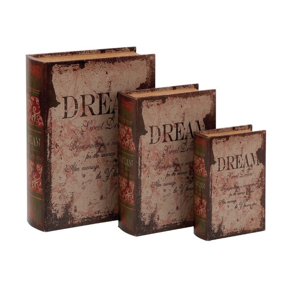 Brown 3 Piece Leather Book Box Set by Darby Home Co