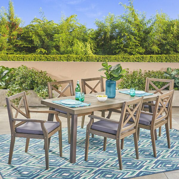 Slagelse Outdoor 7 Piece Dining Set with Cushions by Bungalow Rose