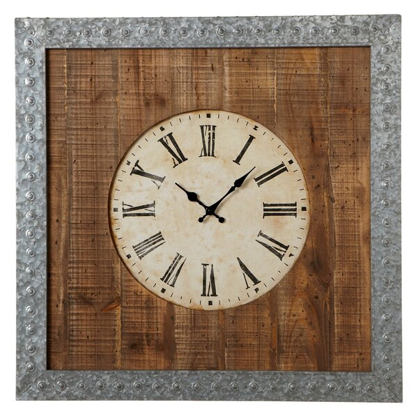 Elsworth Galvanized Frame Wall Clock by Gracie Oaks