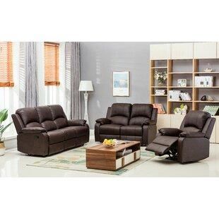 Willian Reclining 3 Piece Leather Living Room Set Latitude Run