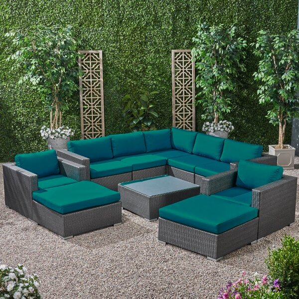 Roxann Outdoor 7 Seater Wicker Sectional Sofa Set with Sunbrella Cushions by Brayden Studio