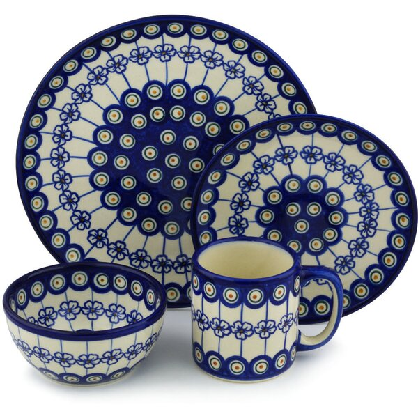 Polish Pottery 4 Piece Place Setting, Service for 1 by Polmedia